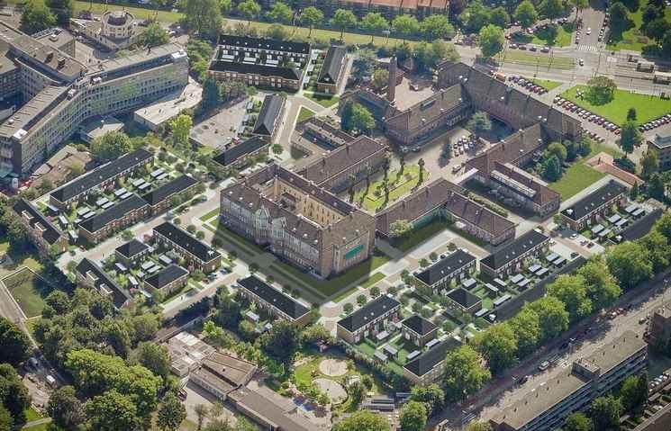 Groene wijk rondom oude ziekenhuis 'Zuider' in Rotterdam
